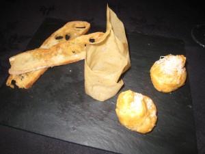 Bacchus - Olive oil infused savoury biscotti, cinnamon & icing sugar Pain à la Grecque, parmesan choux