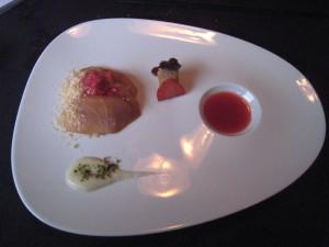 Bacchus - Kingfish Sashimi; strawberries, almonds, foie gras