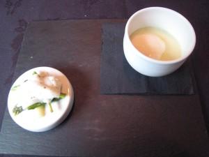 Bacchus - Asparagus Chawanmushi; textures of asparagus, confit clams, milk kappa