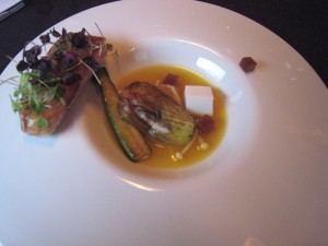 Bacchus - Red Mullet Toast & Liquorice; courgette & crab, blood orange & saffron