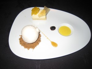 Bacchus - White Chocolate Mousse; mango, passion fruit gel, ginger iced milk, gingerbread crumbs
