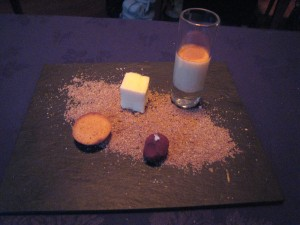 Bacchus - Crema Catalana, passion fruit sponge, financier, chocolate truffle