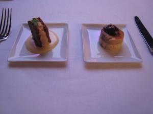 Miettes de Crabe, Pain de Gingembre, Sabayon Wasabi (left) and Foie Gras, Cerise, Caramel (right)