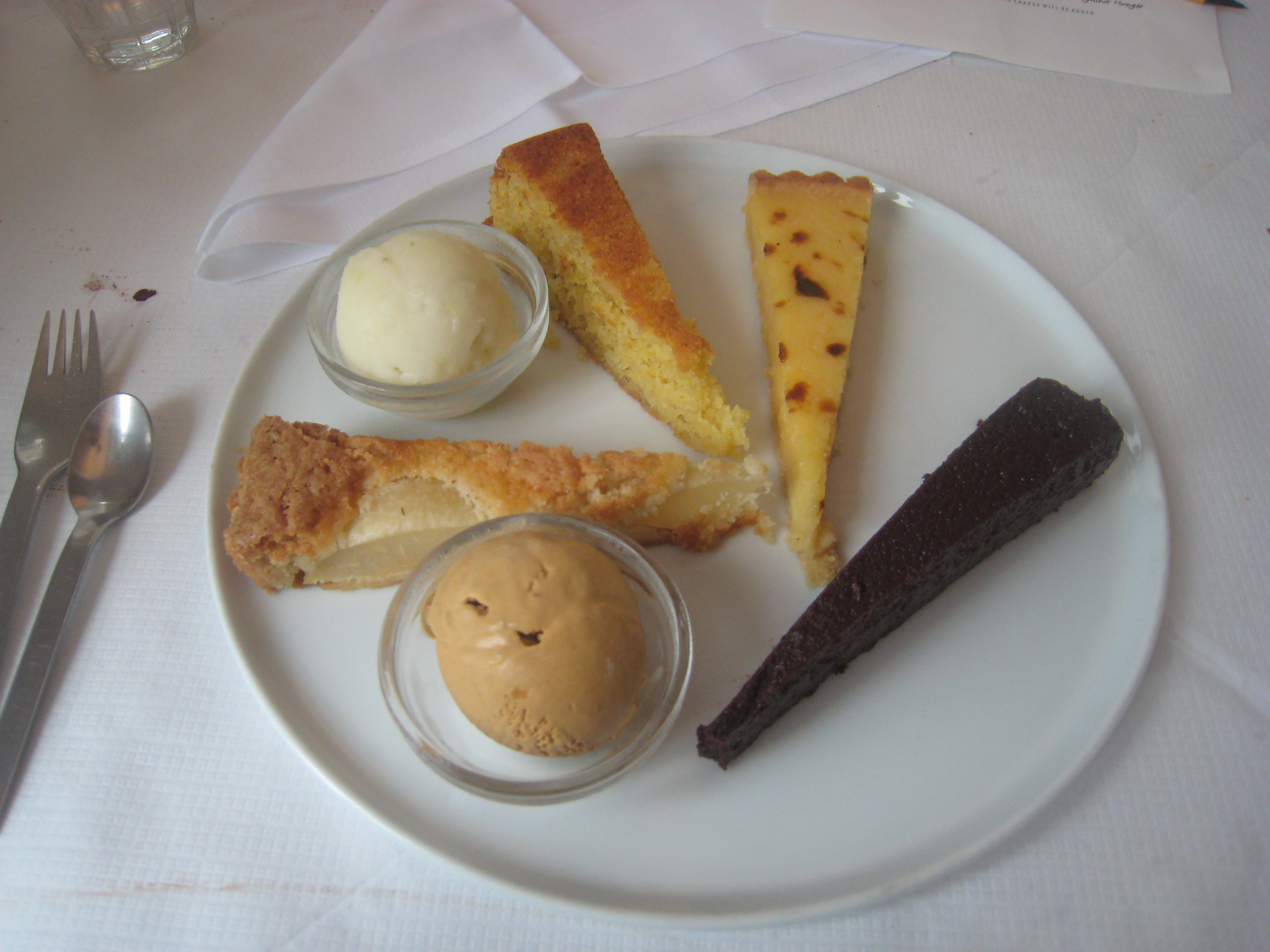 ... with Lemon Sorbet; Lemon Tart; Chocolate Nemeis; and Caramel Ice Cream