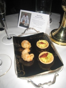 Langoustine Beignet and Curried Smoked Bacon