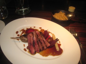 Roasted Breast of Mallard, Beetroot Purée, Cracked Wheat, Candy Beetroot, Game Jus