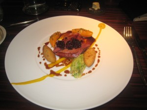 Poached & Roasted Pigeon, Pumpkin & Orange Purée, Blackberry & Star Anise Glaze