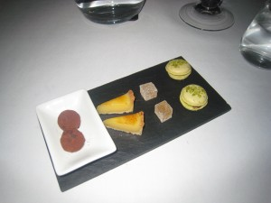 Petit Fours - Amaretto Truffle; Lemon Tart; Pâte de Fruit; and Pistachio Macaron