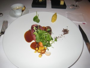 Bresse pigeon breast; sweet corn purée, liquorice, purple tatsoi and land cress salad