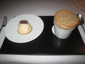 Spiced parsnip and caramelised pecan nut soufflé; Bourbon barrel matured maple syrup