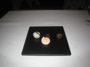 Petit Fours - Marshmallow with pineapple & paprika; coconut macaron with passion fruit; dark chocolate Guanaja; and chestnut & lemon milk chocolate