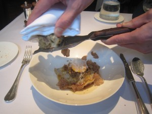 Ravioli of Calves Tail with Crushed Cauliflower and Chanterelles, White Truffles from Alba