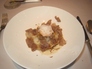 Ravioli of Calves Tail with Crushed Cauliflower and Chanterelles, White Truffles from Alba 2