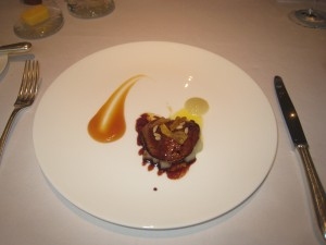Roast Foie Gras with a Sweet and Sour Citrus Glaze, Candied Pineapple and Lime