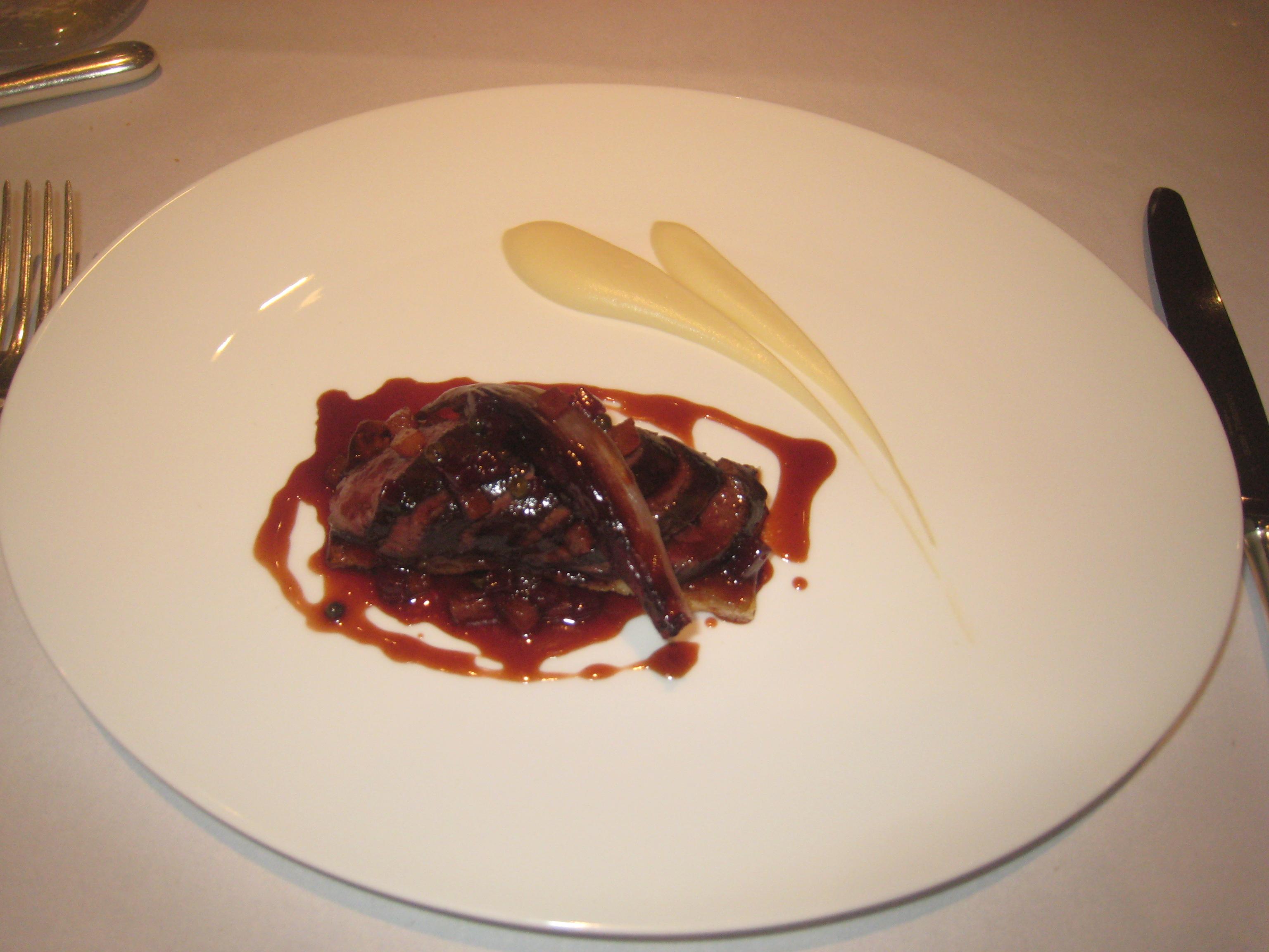 Roast Saddle of Lincolnshire Hare with a Tarte Fine of Celeriac and Pear