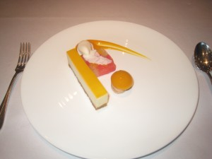 Brillat-Savarin Cheesecake with Passionfruit, Mango and a Citrus Terrine