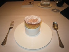 Date Soufflé with Burnt Orange and Almond Ice Cream