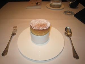 Date Soufflé with Burnt Orange and Almond Ice Cream