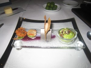 Mushroom Beignet; Shelled Clam; Foie Gras in Filo Pastry; and Broccoli Mousse