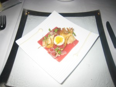 Raw Tuna, Globe Artichoke and Walnut Salad, Soft Poached Quail Egg, Walnut Mayonnaise, Baby Rocket, Pickled Grelot Onions