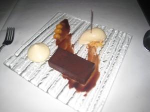 Bitter Sweet Chocolate Tart, Stout Ice Cream and Macadamia Nut Cream
