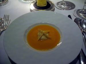 Amuse Bouche - Raviolo of cream cheese and black truffle