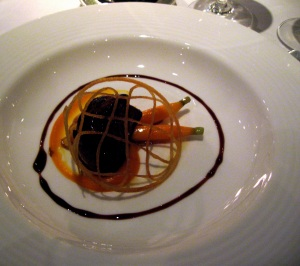 Roasted Loire Valley foie gras with braised carrots and almond foam