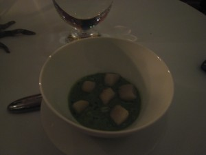 Mousseline of Scallops and Grilled Salpicon / Green Velouté with Pearl Barley