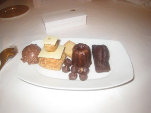 Mignardises & Gourmandises - Tête de choco; religieuse; shortbread with praline; salted chocolate hazelnuts; canelé; and chocolate cake