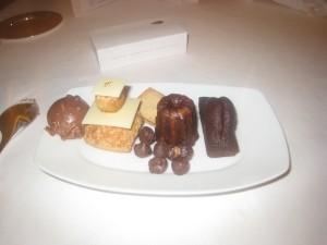 Mignardises & Gourmandises - Tête de choco; religieuse; shortbread with praline; salted chocolate hazelnuts; canelé; and chocolate cake