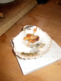 Rock oyster with lardo