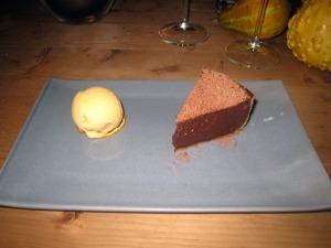 Dark chocolate tart and tangerine ice cream