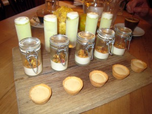 Petit Fours - Green apple parfait; Jasmine tea junket, rosehip syrup & breakfast crunch; and Gypsy tart