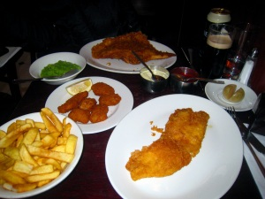 Skate; Pickled Onion; Small Cod; Chips; Whole Tail Scampi; and Mushy Peas