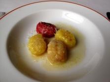 l'Arpège - Gnocchis multicolores; quaternaire au beurre noisette