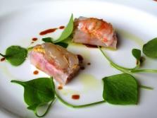 l'Arpège - Sushi légumiers à la moutarde d'Orléans oncteuse; turbot de Bretagne et d'écrevisses