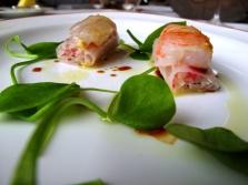 l'Arpège - Sushi légumiers à la moutarde d'Orléans oncteuse; turbot de Bretagne et d'écrevisses 2