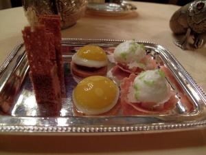 Lasserre -Lasserre - Amuse Bouche: Foie gras et pain d'épice; sablé et oeuf de caille; et crème au parmesan et poire