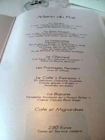 Le Pré Catelan - la Carte