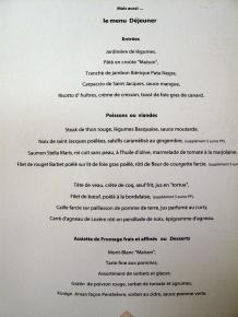 Stella Maris - le menu déjeuner