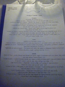 The River Cafe - Il Menu