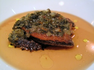 Manresa - Abalone in its own bouillon, seaweed persillade