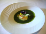 Manresa - Amuse Bouche - Garden veloute with stone ground mustard 2