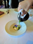 Manresa - Amuse Bouche - Garden veloute with stone ground mustard - Service