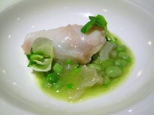 Manresa - Atlantic cod with fava beans, cod tripe