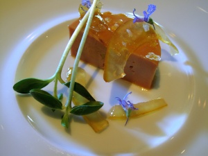 Manresa - Foie gras torchon, rare ginger lime with toasted rapeseed oil