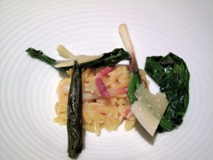 Manresa - Orzo, prepared like risotto, with ramps
