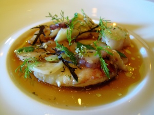 Manresa - Shellfish in crab broth, green strawberries