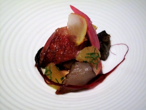Manresa - Squab roasted with sunchokes, beets and poorman orange