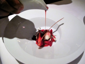Manresa - Strawberries in hibiscus, goat fromage blanc sorbet - Service Strawberry consommé